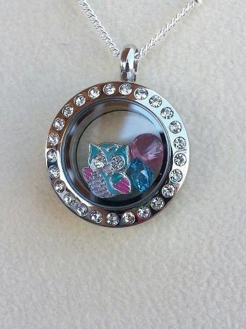 Origami Owl Mini Silver Living Locket with Crystals and NEW Owl  Charm  www.owllockets.com
