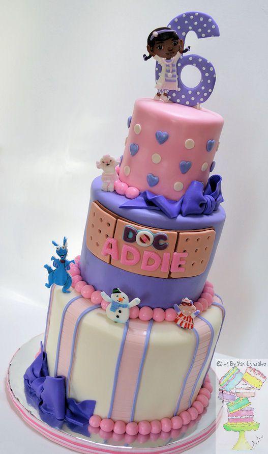 DOC MCSTUFFINS THEME BIRTHDAY CAKE - Gumpaste 2D characters, bows ...