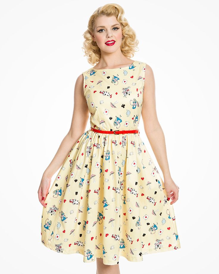 Audrey Yellow Alice In Wonderland Print Swing Dress | Vintage Inspired Fashion | Lindy Bop