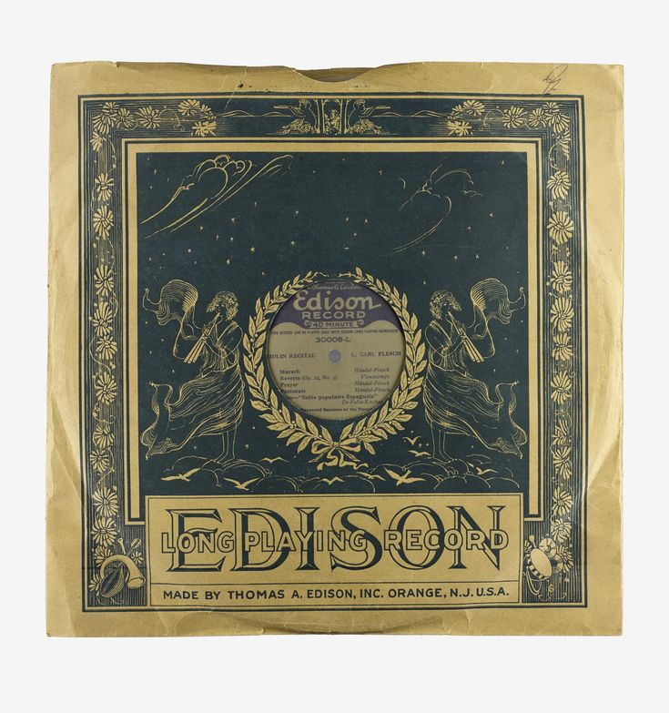 Long-playing disc record, Edison, hill-and-dale and double-sided, with orchestral and woodwind playing on both sides, 1926.