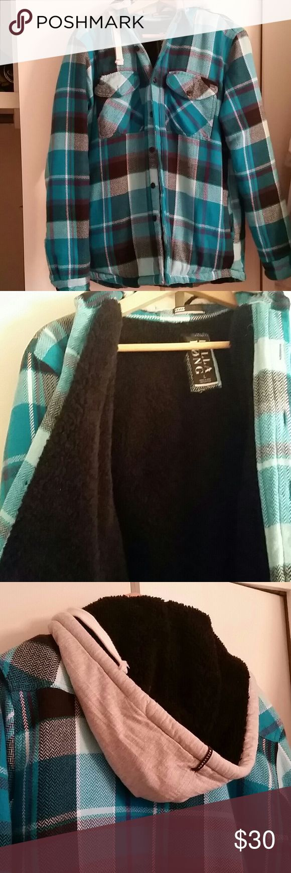 Vibrant colors, faux fur lined flannel jacket Excellent condition, barely worn. Colors are amazing. Jacket has a hood (removable). Men or women. Billabong Jackets & Coats Lightweight & Shirt Jackets