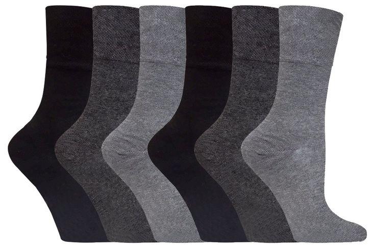 Gentle Grip - 6 Pack of Ladies Diabetic Socks -5-9 us (Grey)