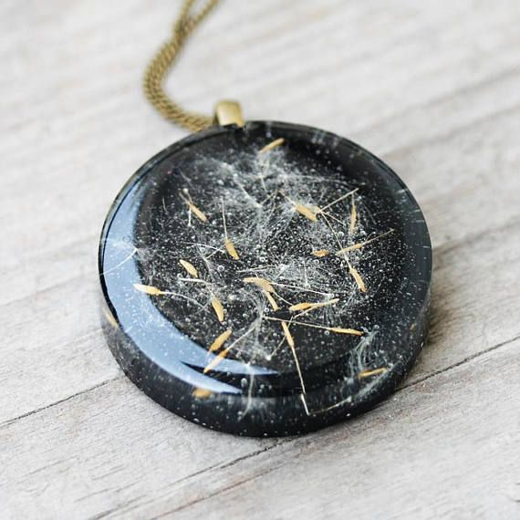 Make a wish resin pendant real dandelion seeds necklace