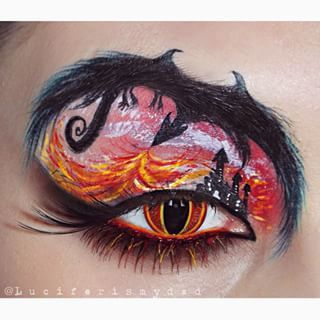 This fiery dragon flying over a castle. | 21 Eye Makeup Looks Guaranteed To Make You Envious
