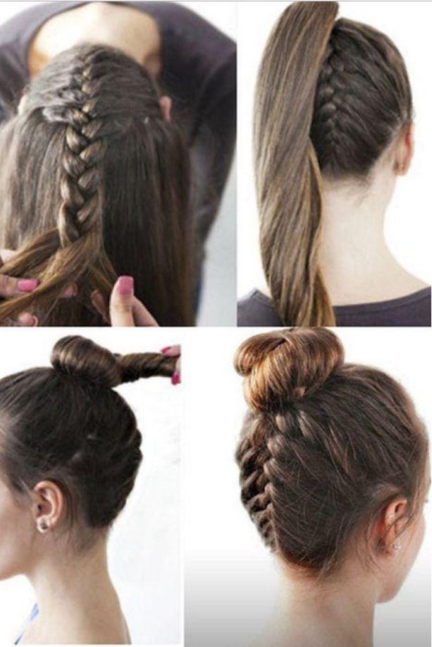 Yeni Trend Örgü Topuz At Kuyruğu Kombinasyon Saç Modelleri