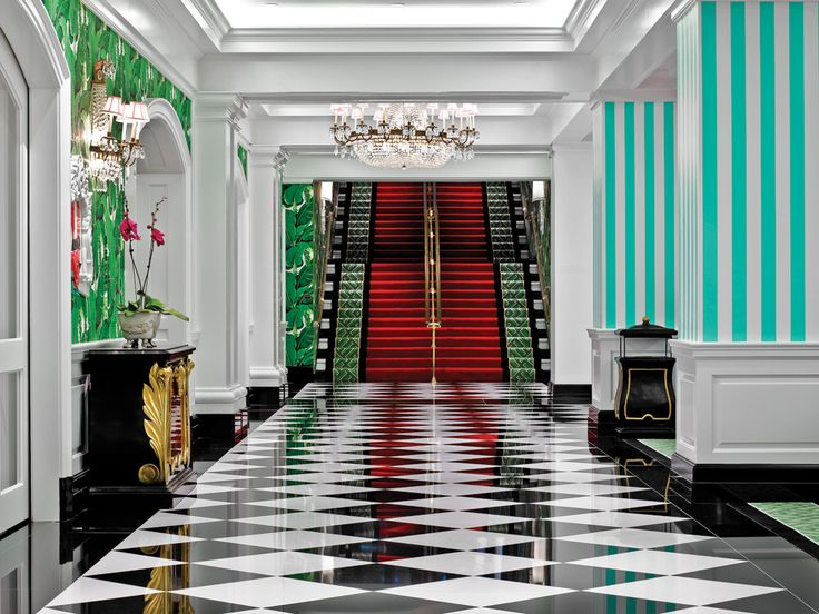 Dorothy Draper's signature black and white floor, shown here at the Greenbrier. All Greenbrier images courtesy of the Greenbrier. A century ago, your average Upper East Side society matron...