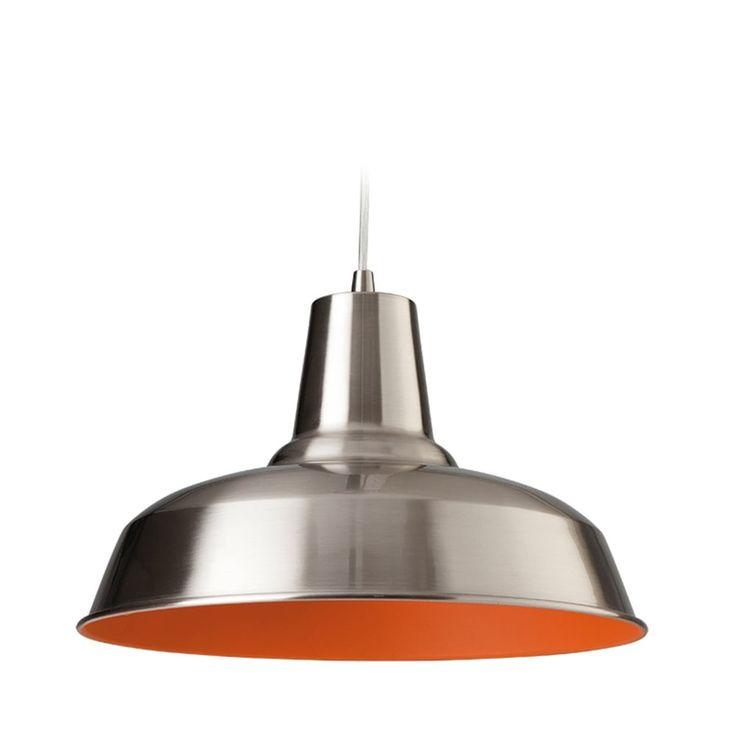 Firstlight Smart Pendant Finished in Brushed Steel with Orange Inside - Kitchen Lighting from Dusk Lighting UK