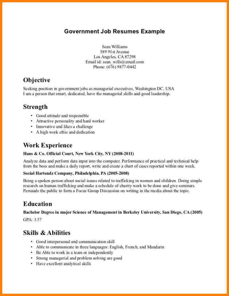 Resume Layout Part Time Job