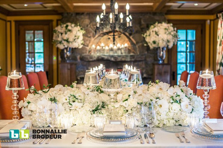 Gorgeous white wedding florals by Bouquet Fleuriste. Event Planner: Zeina Issa Event Planning and Design /// Photo credit: Bonnallie Brodeur Photography /// Rentals & Decor: Joe's Prop House www.joesprophouse.com