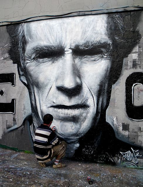 Clint Eastwood by Flow TWE CREW, (street art, great, amazing, beautiful, cool, interesting, creative, mural, wall painting)
