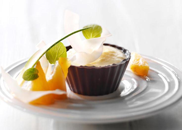 Pina Colada dessert i chokoladeskåle