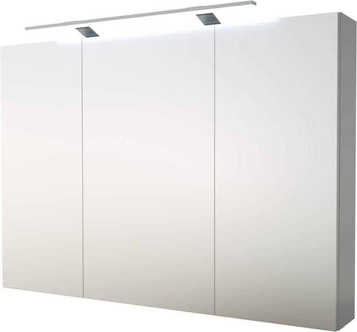 (Hinta 259 €) Scandic-sarjan tyylikäs ja moderni peilikaappi LED-valaisimella isoon kylpyhuoneeseen, kiiltävä valkoinen, leveys 100cm, korkeus 70cm, syvyys 14cm, ovessa soft close -hidastin. Sisältää tyylikkään LED-valaisimen sekä kaapin sisällä olev