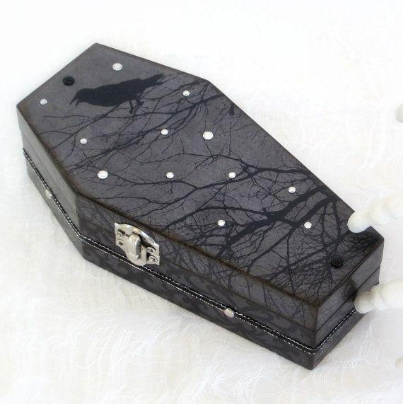 Halloween Coffin Box Goth Gothic Black Coffin Raven by rrizzart, $32.00