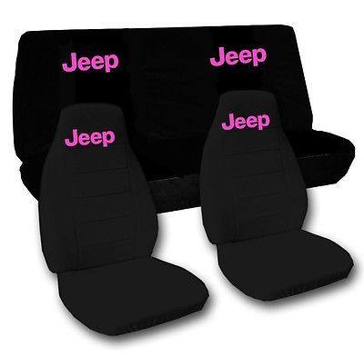 2010 Jeep Wrangler JK Solid Black Seat Covers with Pink Design.  in eBay Motors, Parts & Accessories, Car & Truck Parts | eBay