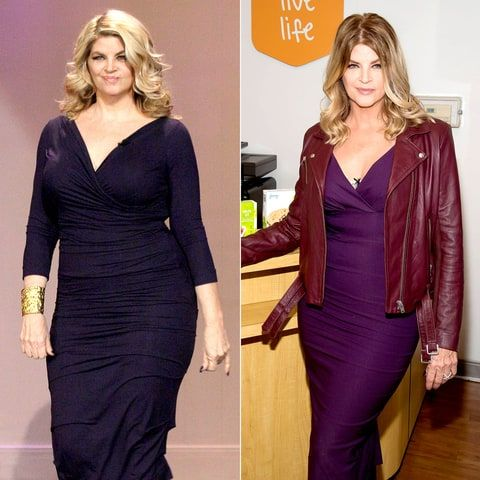 Kirstie Alley in December 2013 (L) and in February 2016