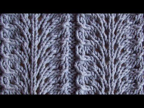 Ажурный узор Павлиный хвост Вязание спицами Видеоуроки - YouTube