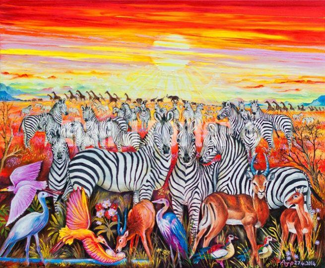 #alanjporterart #kompas #art #animals #zebras #birds #africa #wild #sunset #originaldesign #oil #sun #beautifulcolors