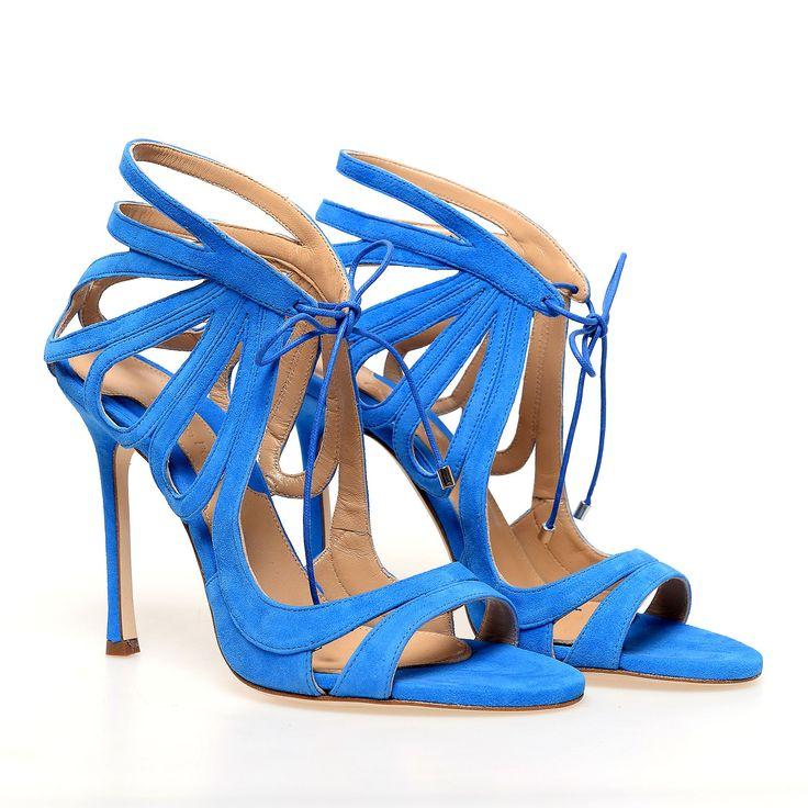 Sandale cu toc de dama CHELSEA PARIS cu siret, Culoare Albastru
