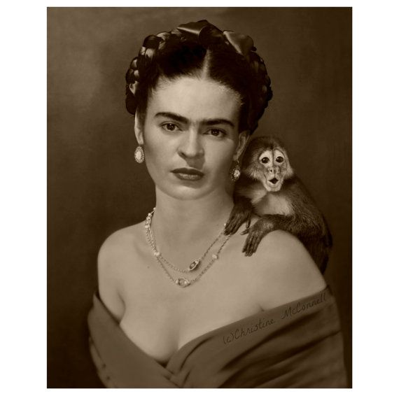 Frida Kahlo Art Print After Self Portrait With Monkey Mixed Media Collage Modern Home Wall Decor Photomontage Sepia Small to Poster