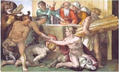 <천지 창조 중 노아의 제사, 미켈란젤로>   동물은 과거의 신에 대한 제사의 도구로 쓰였다. 자신이 아끼던 가축이나 각종 동물을 신에게 바침으로써 신앙심을 고취시키고 신의 노여움을 가라앉히거나 은혜를 비는 등의 기도를 드리곤 했다.