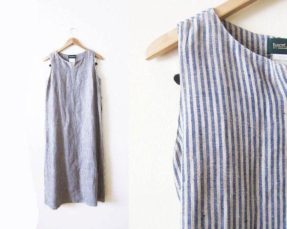 Linen Dress / Striped Maxi Dress / 90s Linen Long by MILKTEETHS
