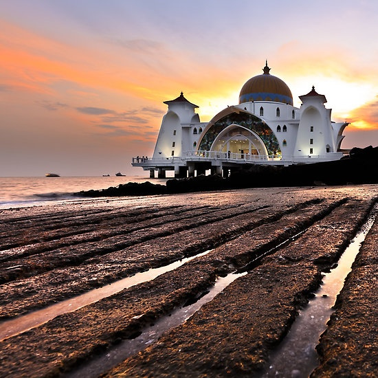 Holy light over Strait of Malacca Mosque..