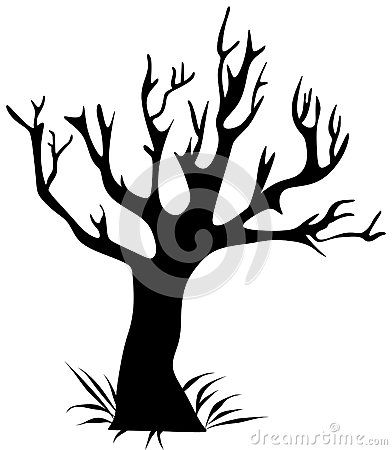 Vector drawing silhouette of a black tree.