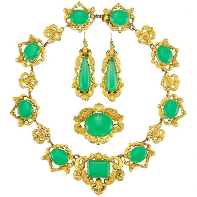 Antique Gilt Metal And Green Chrysoprase Demi Parure Doyle Auction House Handmade Gold Jewellery Jewelry Fine Jewelry