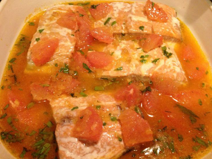Roasted Salmon with Shallot Grapefruit Sauce