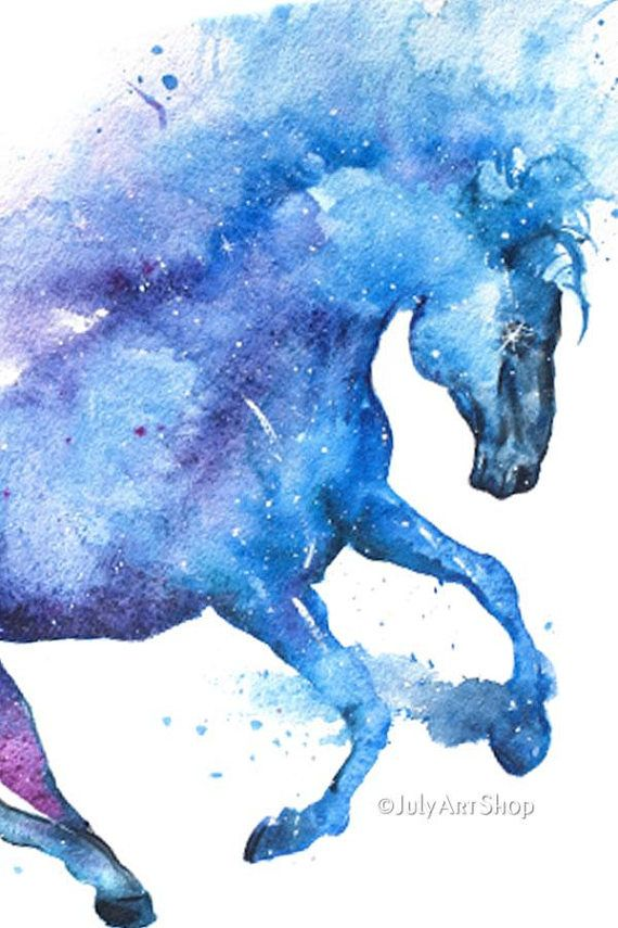 Animal Bedroom Wallpaper Horse Art Gift For Horse Lover Watercolor Galaxy Horse