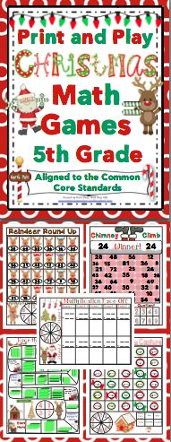 Christmas Math (5th Grade) : No Prep, Print and Play Games and Centers - Your students will have a blast while reviewing important math skills! These no prep activities are aligned to the Common Core Standards, are each 1 page, and are lots of fun! Also available for 3rd grade and 4th grade. $