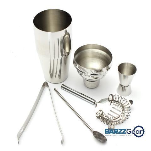 Bartender Kit- Shaker(250ml/750ml), Jigger, Spoon, Strainer, Ice Tongs