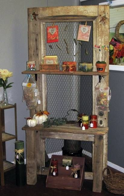 recycle old wood doors into a display shelf