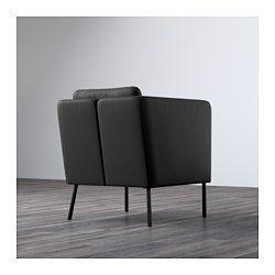IKEA - EKERÖ, Fotel, , Pokrycie łatwo utrzymać w czystości - wystarczy wytrzeć do czysta wilgotną ściereczką.Poduszkę z tyłu można dowolnie przekładać dla większego komfortu siedzenia..