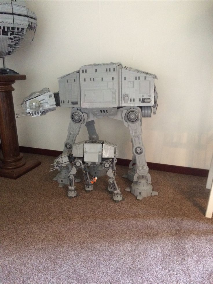 Giant Lego AT-AT and small AT-AT as comparison.
