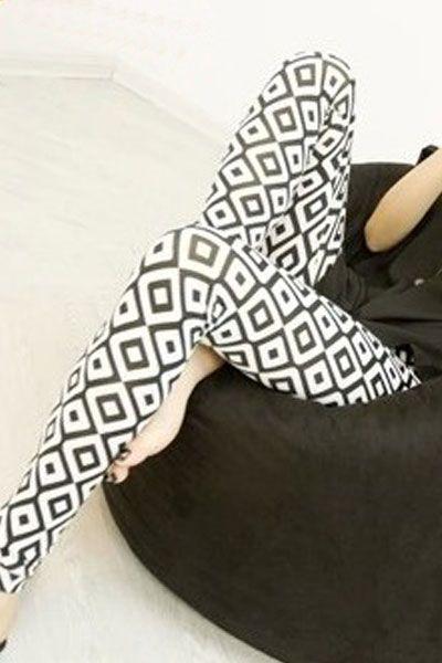 Black White Pattern Pencil Leggings