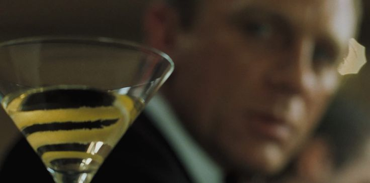 a gentleman's drink .. The Vesper Martini recipe: 3 measures of Gordon's, 1 of Vodka, Half a measure of Lillet, shake it over ice, strain, pour in chilled martini glass with thin slice of lemon peel. From #JamesBond #CasinoRoyale #007 #Bond