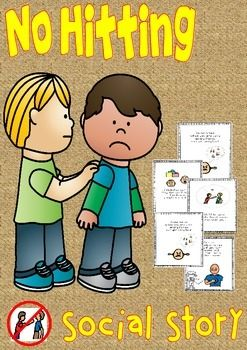 """Autism/kindergarten No Hitting Social StoryIncluded in this unit are 3 sections.1 No Hitting - Social Story. This is the second No Hitting Social Story unit I've written, especially  for pupils with more communication skills and understanding of the spoken word, You can reinforce by reading regularly in a one to one situation or as part of a group..2. """"Who's being kind and who's being nasty"""" activity sheets.3."""