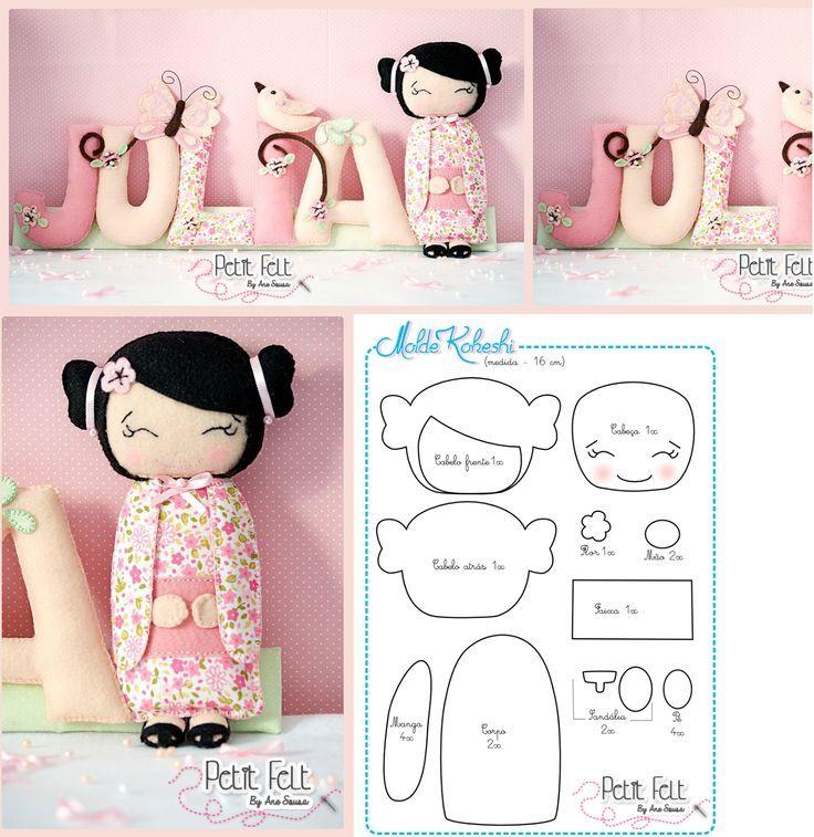 Facilite Sua Arte: Feltro - Boneca Kokeshi: