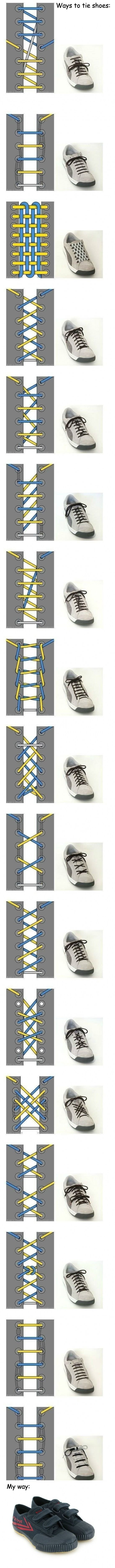 Several ways to tie shoes. I have to try some of these (except that last one).