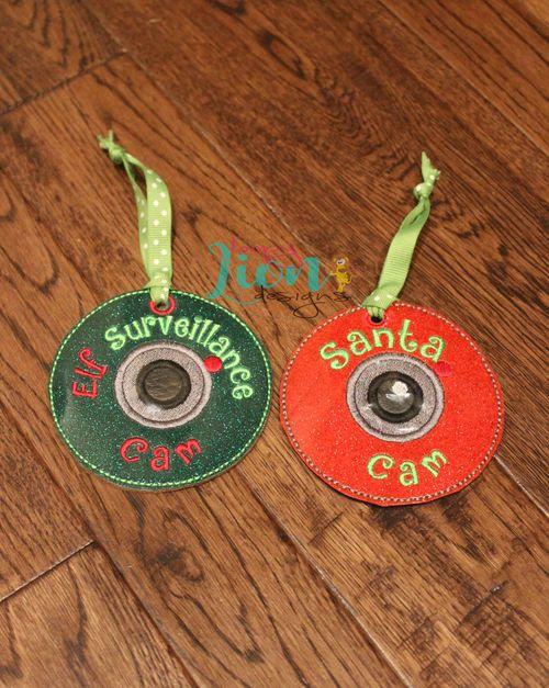 Elf and Santa Cam Ornaments