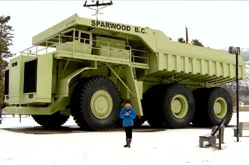 """The world's largest truck— Built by General Motors of Canada, the 1974 Terex """"Titan"""" – all 350 tonnes, 66 feet and 3,300 Horse Power of it, lives in Sparwood, British Columbia."""