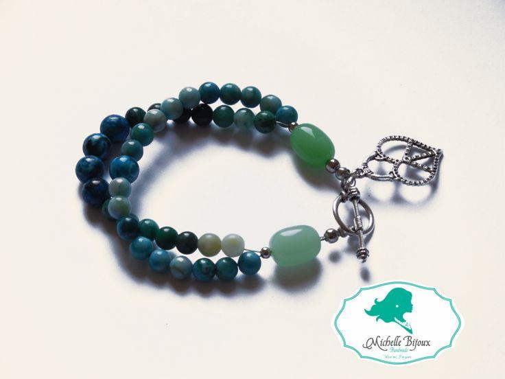 Bratara in nuante de verde - turcoaz Pietre semipretioase: jade