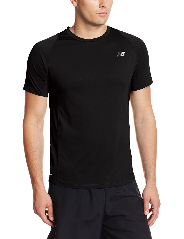 New Balance Men's Accelerate Short Sleeve Top, Black, Small. NB Dry for  wicking