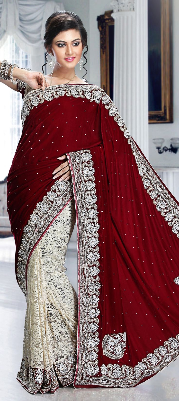 166145: Red and Maroon, White and Off White color family Bridal Wedding Sarees with matching unstitched blouse.
