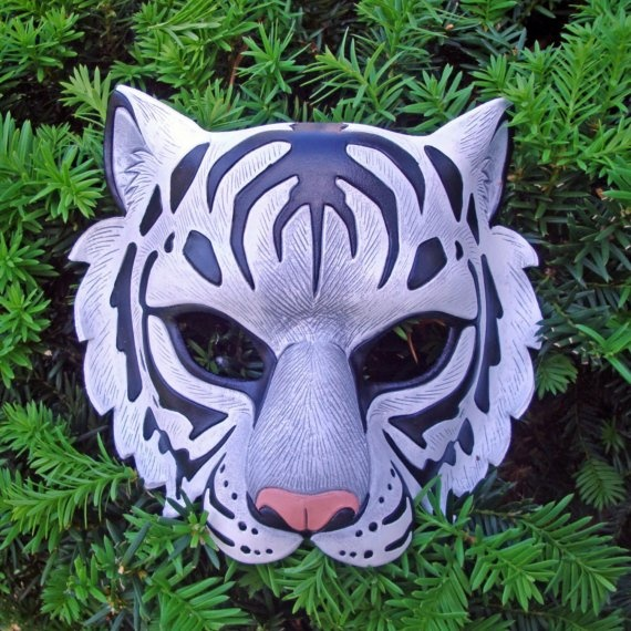 Leather White Tiger mask