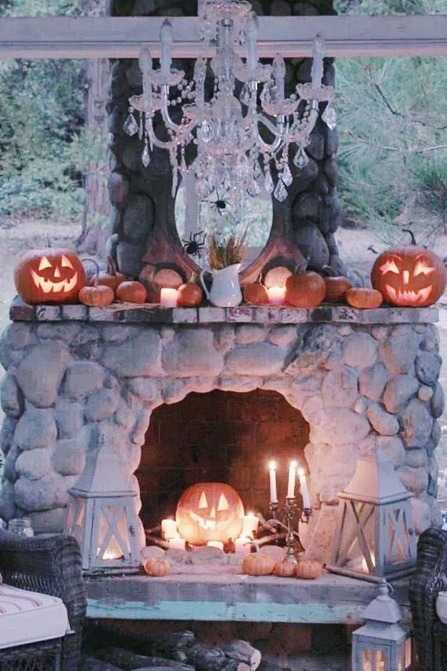 11 best halloween fireplace decor images on pinterest for How to decorate your fireplace for halloween