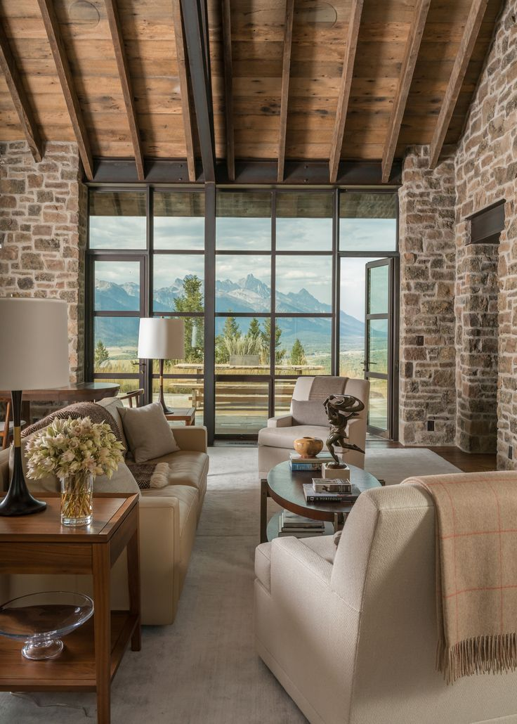 Modern rustic homestead showcases views over the teton range