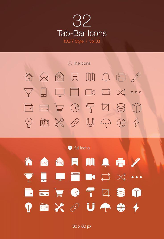Web design freebies, Free Tab Bar Icons iOS 7 Vol3