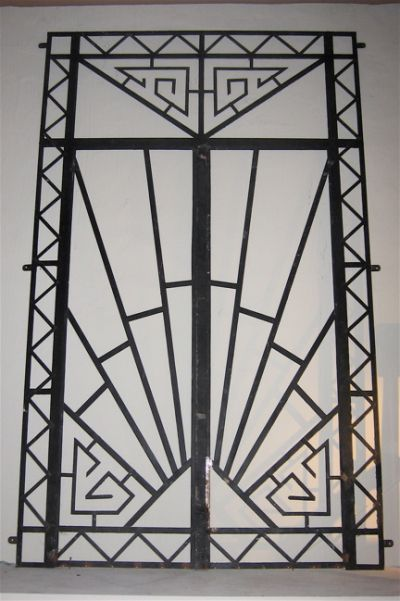 I can use this on one of my doors to add a bit of detail and life  1930s Art Deco Wrought Iron Double Entry Door